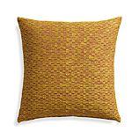"Nettles Mustard 23"" Pillow with Down-Alternative Insert."