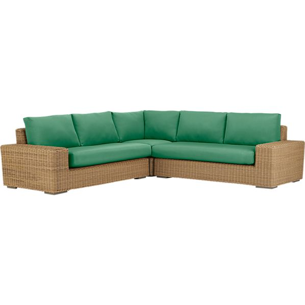 Newport 3-Piece Loveseat Sectional with Sunbrella® Bottle Green Cushions