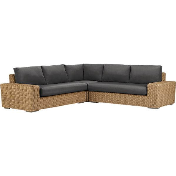 Newport 3-Piece Loveseat Sectional with Sunbrella® Charcoal Cushions