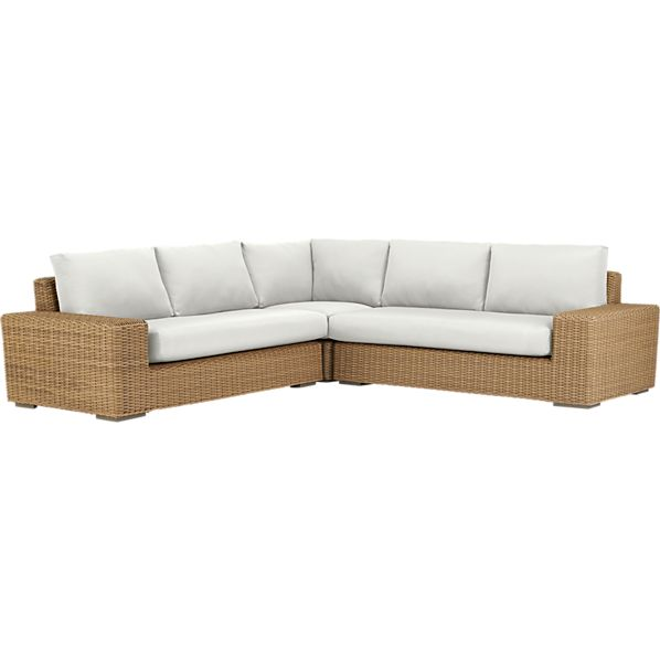 Newport 3-Piece Loveseat Sectional with Sunbrella ® White Sand Cushions