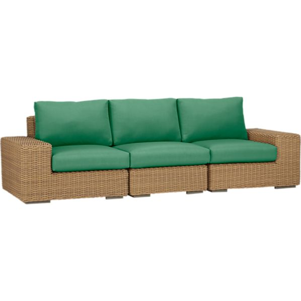Newport 3-Piece Sectional with Sunbrella® Bottle Green Cushions