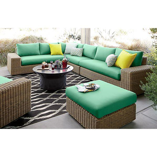 Newport Modular Armless Chair with Sunbrella® Bottle Green Cushions