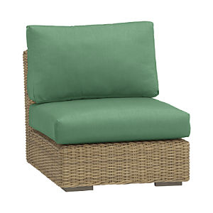 Newport Modular Armless Chair with Sunbrella® Bottlle Green Cushions