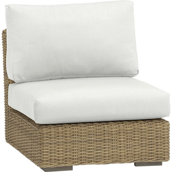 Newport Modular Armless Chair with Sunbrella ® White Sand Cushions
