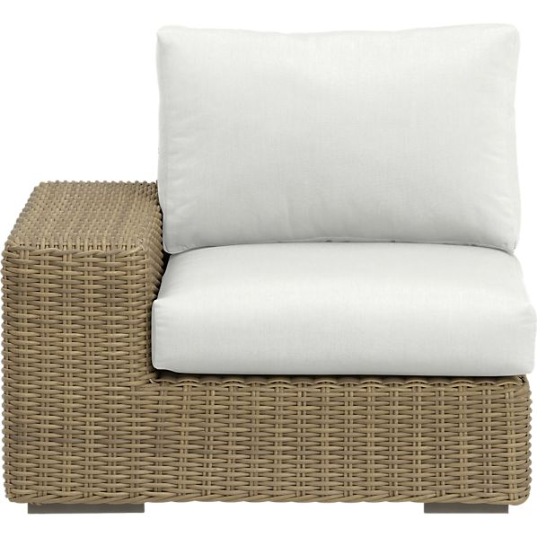 Newport Modular Left Arm Chair with Sunbrella® White Sand Cushions