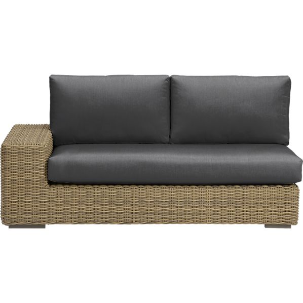 Newport Modular Left Arm Loveseat with Sunbrella ® Charcoal Cushions