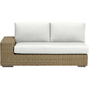 Newport Modular Left Arm Loveseat with Sunbrella White Sand Cushions