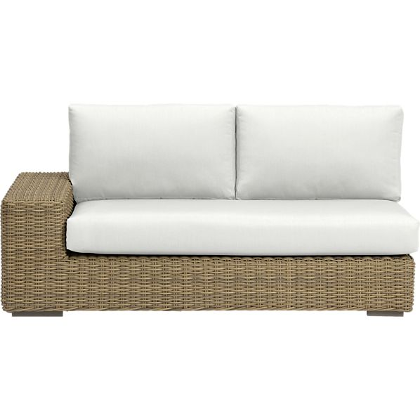 Newport Modular Left Arm Loveseat with Sunbrella ® White Sand Cushions
