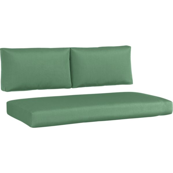 Newport Sunbrella® Bottle Green Modular Loveseat Cushions