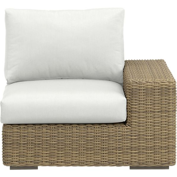 Newport Modular Right Arm Chair with Sunbrella ® White Sand Cushions