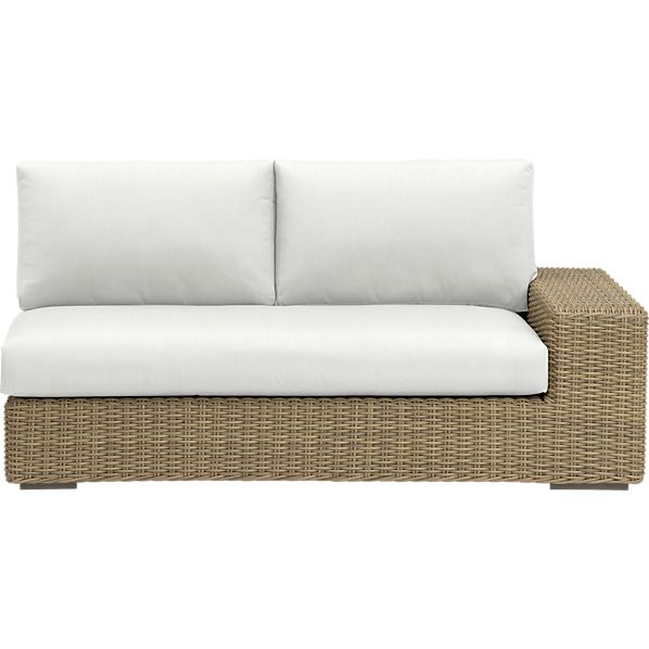 Newport Modular Right Arm Loveseat with Sunbrella ® White Sand Cushions
