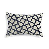 "Nikko Blue 20""x13"" Pillow with Feather-Down Insert"