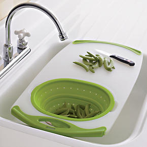 Nonslip Over-the-Sink Board with Colander
