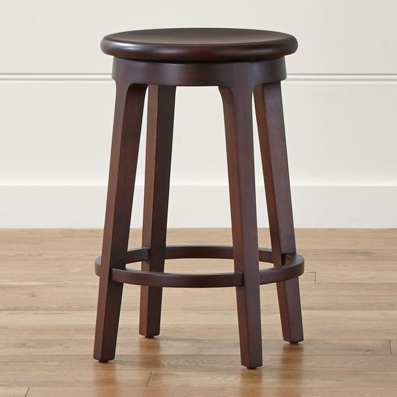 Nora's simple lines, warm mahogany and a 360-degree swivel seat elevate casual seating at a kitchen counter. <NEWTAG/><ul><li>FSC-certified solid mahogany with clear lacquer finish</li><li>Mortise-and-tenon joinery</li><li>Swivel seat</li><li>Made in Indonesia</li></ul>