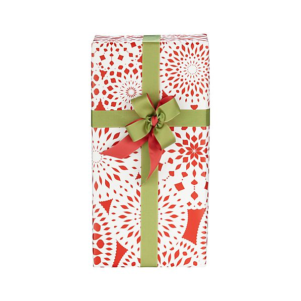 Red and White Nordic Snowflake Gift Wrap