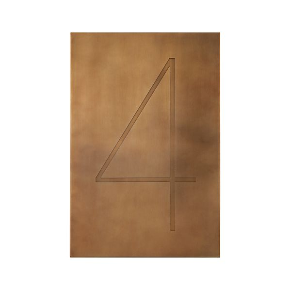 Brass Number 4 Wall Art