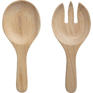 Set of 2 Oak Salad Servers