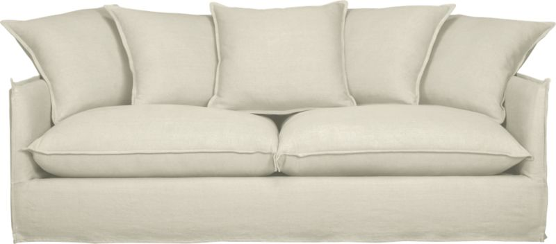 "Slipcover for Oasis Sofa is 100% linen tailored fresh with a fashionable flanged edge and casual drape at the floor.<br /><br />Additional <a href=""http://crateandbarrel.custhelp.com/cgi-bin/crateandbarrel.cfg/php/enduser/crate_answer.php?popup=-1&p_faqid=125&p_sid=DMUxFvPi"">slipcovers</a> available below and through stores featuring our Furniture Collection.<br /><br />After you place your order, we will send a fabric swatch via next day air for your final approval. We will contact you to verify both your receipt and approval of the fabric swatch before finalizing your order.<br /><br /><NEWTAG/><ul><li>100% linen</li><li>Dry cleaning recommended</li><li>Made in North Carolina, USA</li></ul>"
