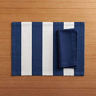 Olin Navy Placemat and Fete Blue Cotton Napkin