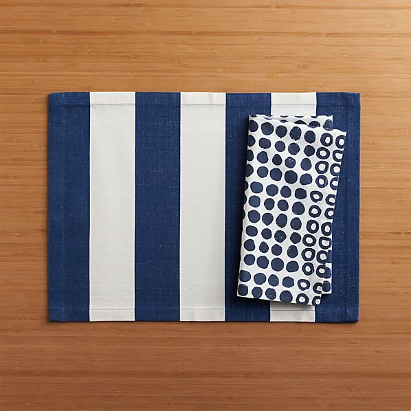 Olin Navy Placemat and Tolo Block Print Napkin