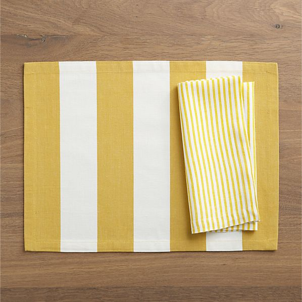 Olin Mustard Placemat and Liam Yellow Stripe Napkin