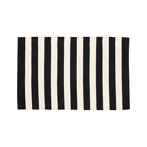 Olin Black Striped Cotton 2'x3' Rug