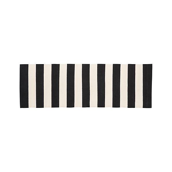 Olin Black Striped Cotton 2'x6' Rug Runner