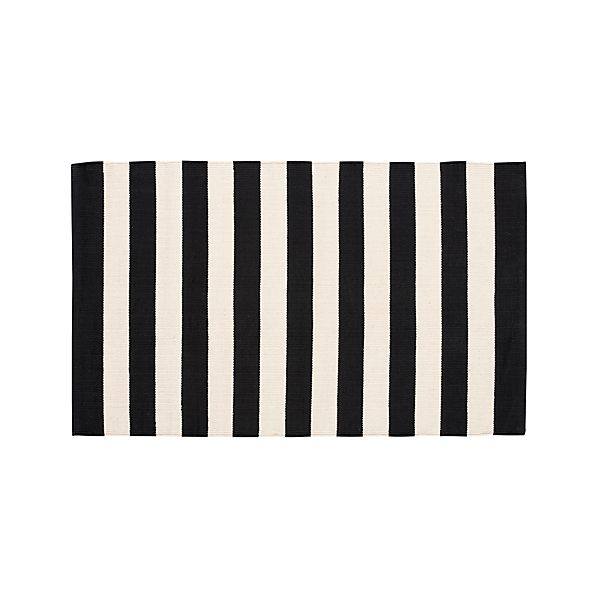 "Olin Black Striped Cotton 30""x50"" Rug"