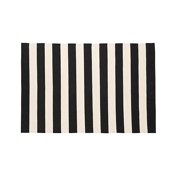 Olin Black Striped Cotton 4'x6' Rug