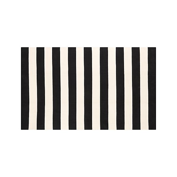 Olin Black Striped Cotton 5'x8' Rug