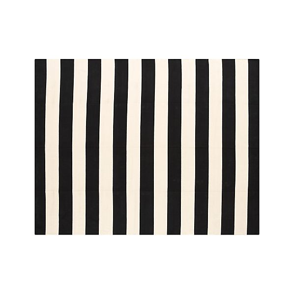 Olin Black Striped Cotton 8'x10' Rug