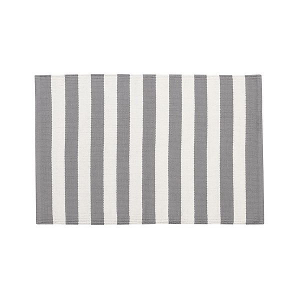 Olin Grey Striped Cotton 2'x3' Rug