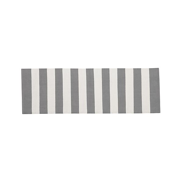 Olin Grey Striped Cotton 2'x6' Rug Runner