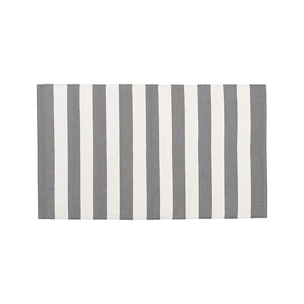 "Olin Grey Striped Cotton 30""x50"" Rug"
