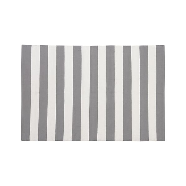 Olin Grey Striped Cotton 4'x6' Rug
