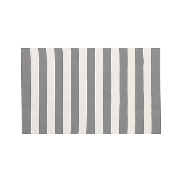 Olin Grey Striped Cotton 5'x8' Rug