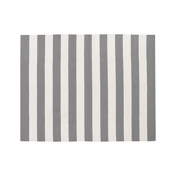Olin Grey Striped Cotton 8'x10' Rug