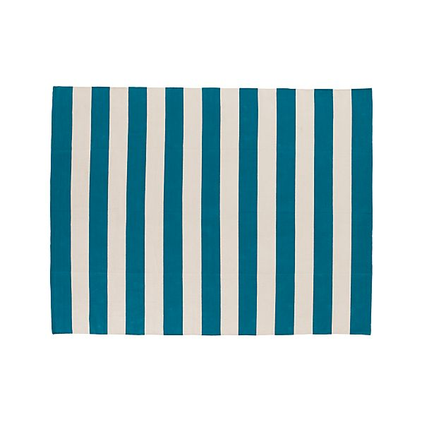Olin Teal Blue Striped Cotton 8'x10' Rug