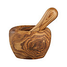 Olivewood Mortar and Pestle. 4.75&amp;quot;dia.x3.5&amp;quot;H mortar; 1.75&amp;quot;dia.x6.5&amp;quot;H  pestle.