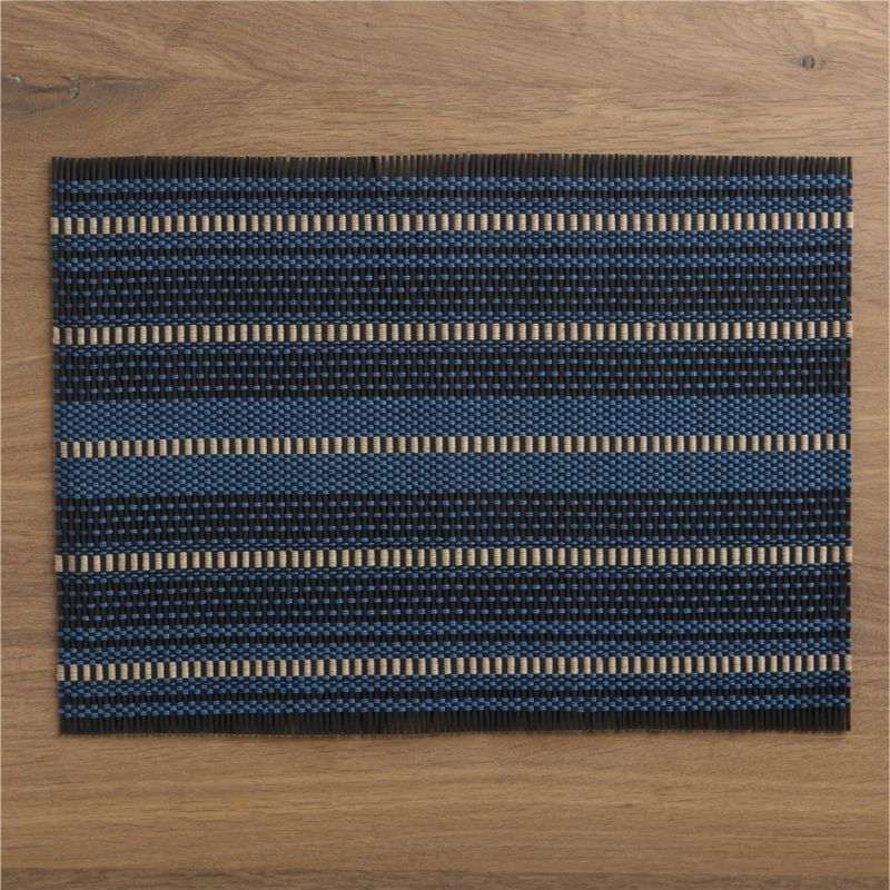 Rustic weave of bamboo fashions blue and taupe stripes in bold geometrics with an ethnic edge. Rolls up for space-saving storage.<br /><br /><NEWTAG/><ul><li>100% bamboo</li><li>Wipe clean with damp cloth</li><li>Made in China</li></ul>
