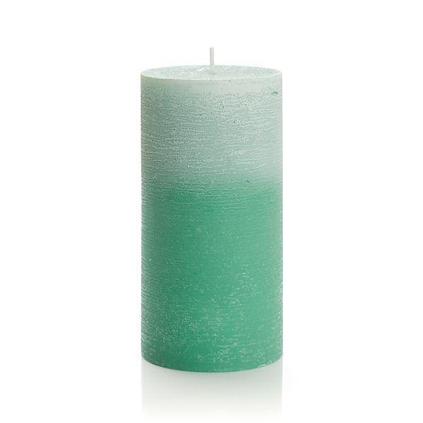 "Ombre Jade Green 3""x6"" Pillar Candle"