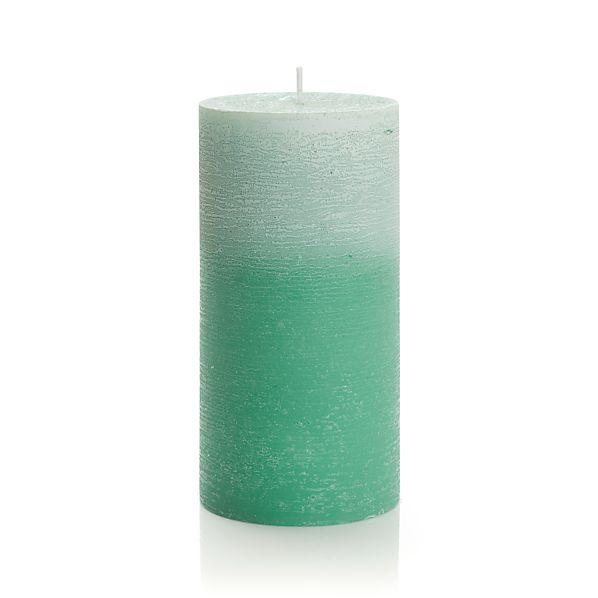 "Ombre Jade Green 3""x6"" Pillar Candle"