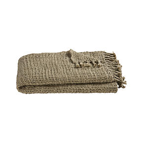 Open Weave Taupe Throw