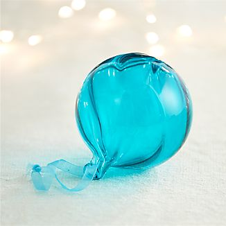Optic Glass Teal Ball Ornament