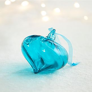 Optic Glass Teal Onion Ornament