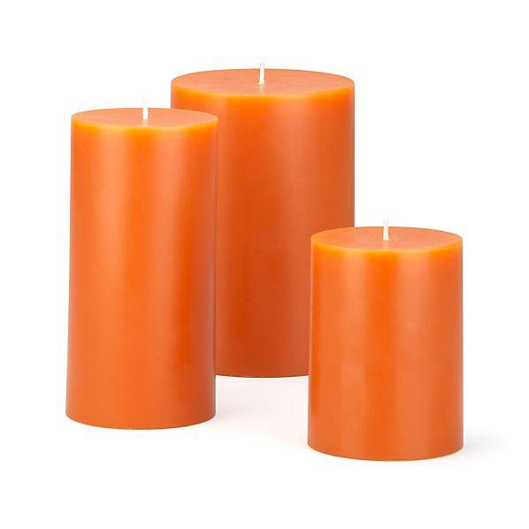 Orange Pillar Candles