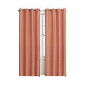 Orange Chambray Grommet Curtain Panels
