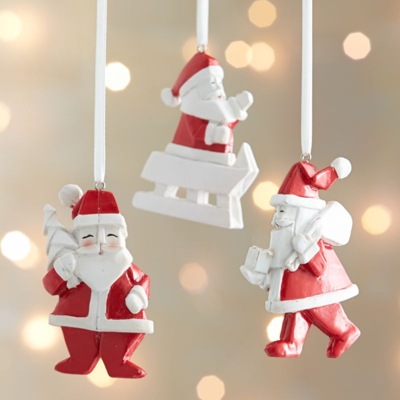 Origami Santa Claus Ornaments