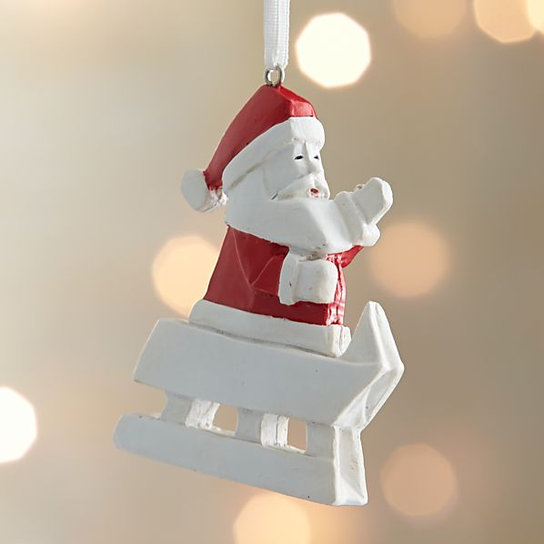 Sledding Origami Santa Claus Ornament