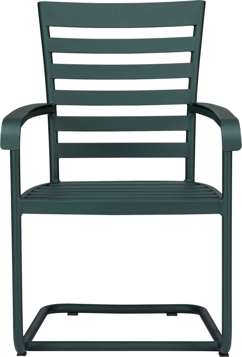 "Elegant French Provencal curves nod to streamlined midcentury modern in this gracious and timeless outdoor collection. Comfortable seating takes shape in durable yet lightweight aluminum tubing, powdercoated in a classic shade of evergreen. Motion ""spring"" dining chair has a perfectly pitched back and spring base that gently rocks. Slatted design features a softly rounded frame, complete with retro-inspired ""covered"" armrests. Orleans dining collection also available.<br /><br /><NEWTAG/><ul><li>Designed by Blake Tovin</li><li>Rustproof aluminum tubing</li><li>Evergreen powdercoat finish</li><li>Plastic feet</li><li>Stainless-steel hardware</li><li>Outdoor furniture cover recommended</li><li>Made in Vietnam</li></ul>"